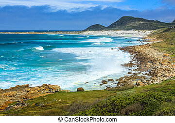 The beautiful landscape of the Atlantic coast of Scarborough Beach near village of Misty Cliffs, Cape Peninsula in South Africa.