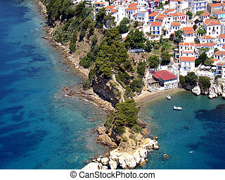 Cape Plakes in Skiathos city, Greece, aerial view