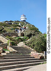 steps leading to the lighthouse at cape point, south africa