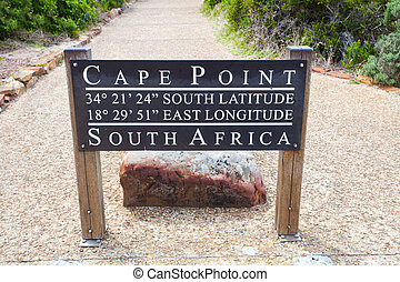 cape point, south africa GPS coordinates sign board