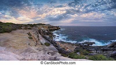 Cape Solander Panorama Australia - Scenic views north at...