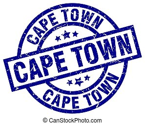 Cape Town blue round grunge stamp