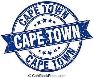 Cape Town blue round grunge vintage ribbon stamp