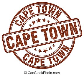 Cape Town brown grunge round vintage rubber stamp