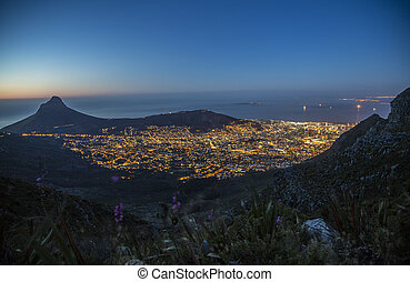 Cape Town city bowl, Robben Island - The city bowl of Cape...