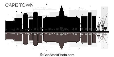 Cape Town City skyline black and white silhouette with reflections.