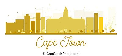 Cape Town City skyline golden silhouette.
