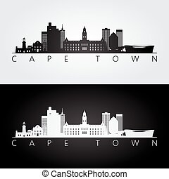 Cape Town skyline and landmarks silhouette