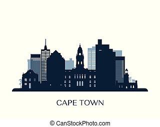 Cape Town skyline, monochrome silhouette.