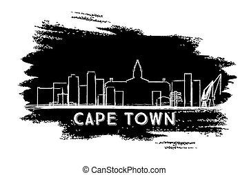 Cape Town Skyline Silhouette. Hand Drawn Sketch.