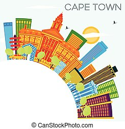 Cape Town Skyline with Color Buildings, Blue Sky and Copy Space.