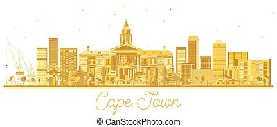 Cape Town South Africa City skyline golden silhouette.