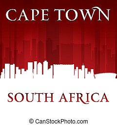 Cape Town South Africa city skyline silhouette red background