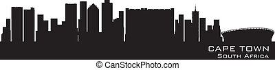 Cape Town, South Africa skyline. Detailed vector silhouette
