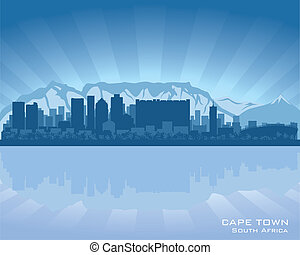 Cape Town, South Africa skyline illustration with reflection in water
