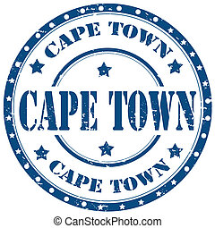 Cape Town-stamp - Grunge rubber stamp with text Cape...
