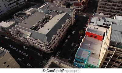 Cape Town Street Scene - A aerial view of a Cape Town street...