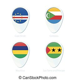 Cape Verde, Comoros, Mauritius, Sao Tome and Principe flag location map pin icon.