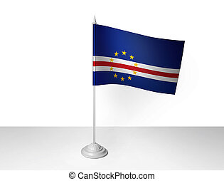 Cape Verde desk flag waving 3D rendering isolated white background