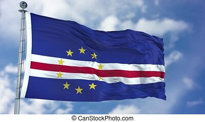 Cape Verde Flag in a Blue Sky