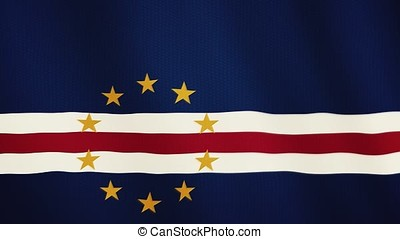 Cape Verde flag waving animation. Full Screen. Symbol of the country.