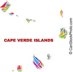 Cape Verde Islands Map - Mosaic of Color Triangles
