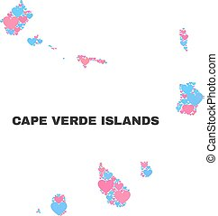Cape Verde Islands Map - Mosaic of Lovely Hearts