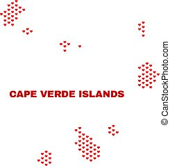 Cape Verde Islands Map - Mosaic of Valentine Hearts
