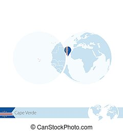 Cape Verde on world globe with flag and regional map of Cape...
