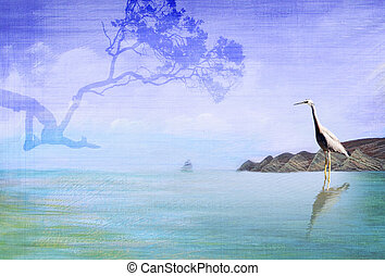 Cape with Heron and tree - photo manipulation - photos and...