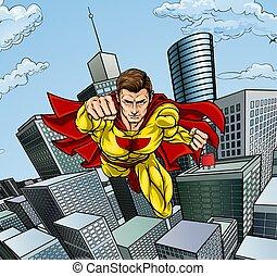 Caped Flying Super Hero City Scene