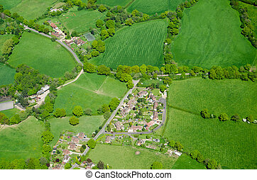 Capel village, Surrey, Aerial View - View from the air of...