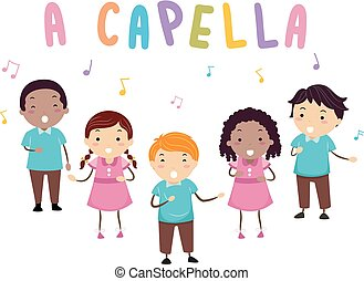 capella, gosses, stickman, illustration, chanter