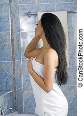 capelli, asciugamano, bianco, nero