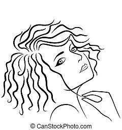 capelli, astratto, ragazza, filo, presa a terra