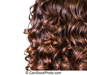 capelli, bianco, ondulato, isolato