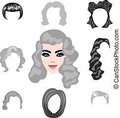 capelli, biondo, styling, set