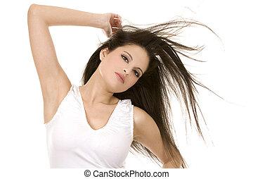 capelli, brunetta, lungo