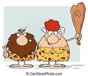 capelli, caveman, donna, coppia, rosso