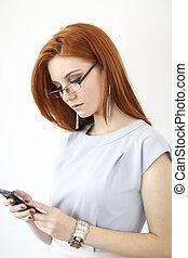 capelli, cellphone, donna, rosso