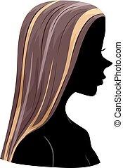 capelli, culmini, ragazza, silhouette, illustrazione