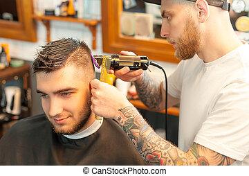 capelli, cutted, uomo, detenere, giovane