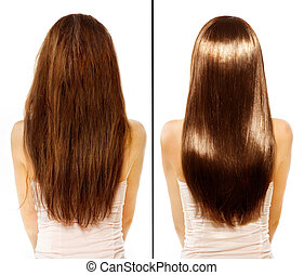 capelli, danneggiato, secondo, trattamento, prima