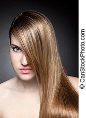 capelli, diritto, lungo, giovane, bellezza