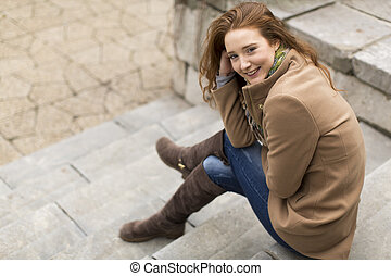 capelli, donna, giovane, rosso