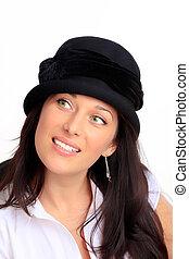 capelli, donna nera, cappello, giovane