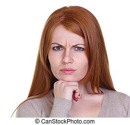 capelli, donna, rosso, triste