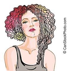 capelli, donna, rosso