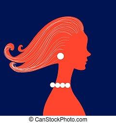 capelli, donna, silhouette, riccio