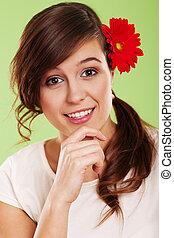 capelli, donna sorridente, fiore, lei